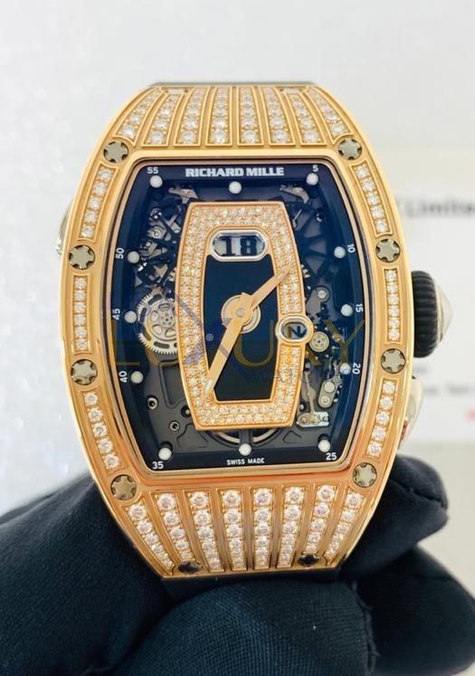 Richard Mille RM 037 Rose Gold Medium Set Black Onyx Dial