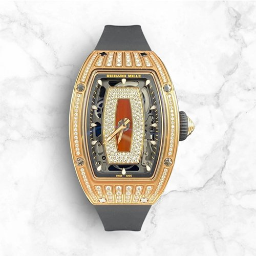 Richard Mille RM 07-01 Rose Gold Medium Set Diamonds Jasper Dial Red Watch