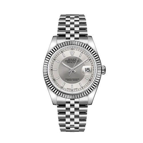 Rolex DATEJUST 36mm 116234 Steel And White Gold Silver Sticks Dial