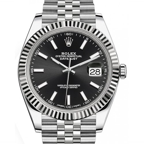 Rolex Datejust 41mm Black Dial 18K White Gold And Stainless Steel Watch 126334