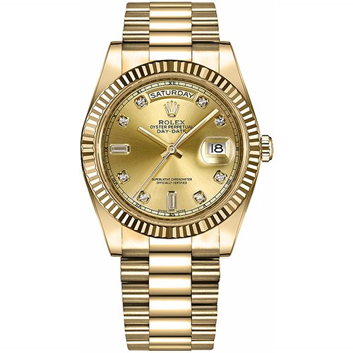 Rolex DAY-DATE II 218238 18k Yellow Gold Champagne Diamond Dial Watch