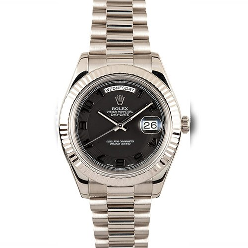 Rolex Day-Date II 218239 18k Solid White Gold President Watch