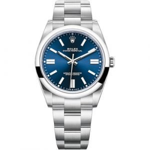 Rolex Oyster Perpetual Stainless Steel Blue Index Oyster Bracelet Dial 41mm Watch 124300
