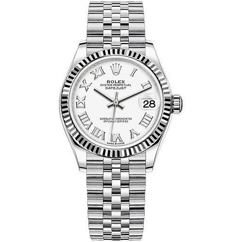 Rolex Datejust Steel And White Gold White Roman Dial 31mm Watch 278274