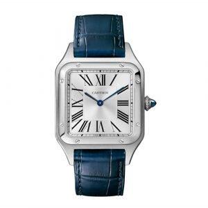 Santos De Cartier Blue Leather Strap Watch WHSA0007