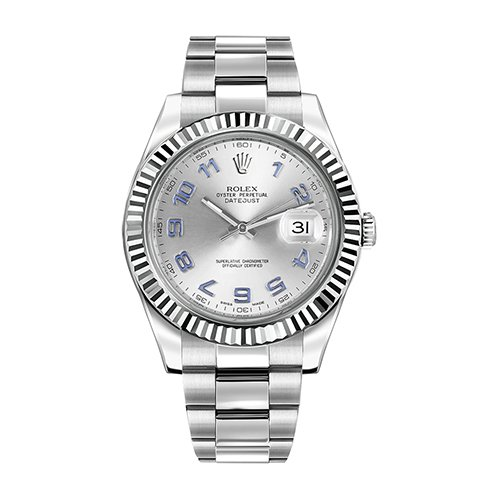 Rolex 116334 Datejust Silver Arabic 41mm Dial Watch