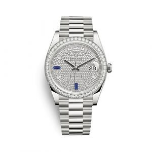 Rolex Day-Date 40mm 18k White Gold Paved With Diamonds 228349rbr