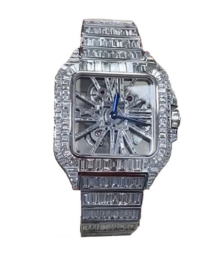 Cartier Santos Skeleton Full Baguette Diamonds Watch
