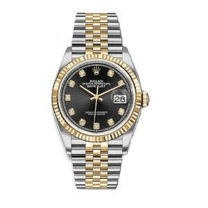 Rolex 126233 Datejust Two Tone Fluted Bezel & Black Diamond Dial on Jubilee Bracelet