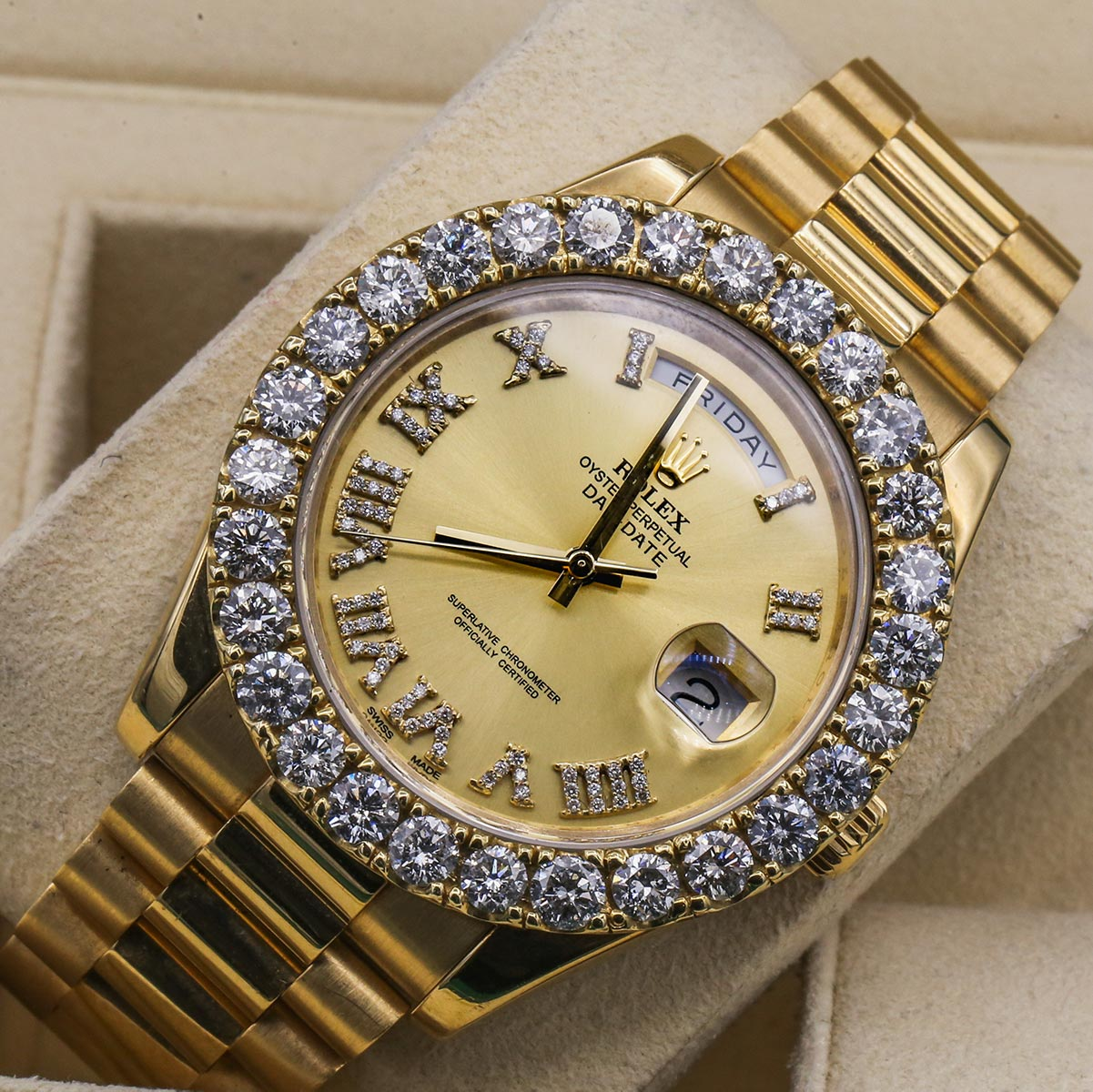 Rolex Day-Date 218238 18kt Yellow Gold President Aftermarket Dial and Bezel Mens Watch Dial Detail