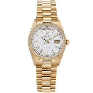 Rolex President 18038 36mm Date Display White Dial Watch