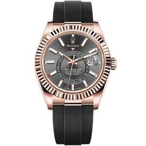 Rolex Sky-Dweller 326235 42mm fluted bezel Ivory Dial Mens Watch