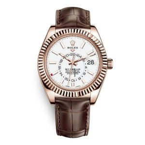 Rolex Sky-Dweller 42mm 326135 White Dial Brown Strap