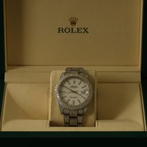 Rolex Datejust 41mm 126300 Iced Out White Stick Dial Oyster Bracelet Mens Watch