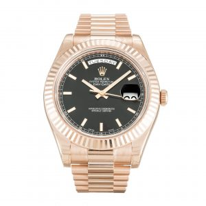 Rolex 218235 Day-Date Black Dial Watch