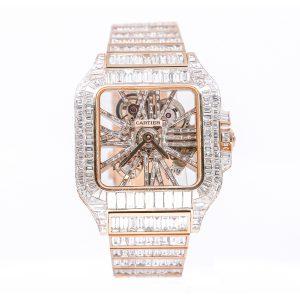 Cartier Santos Skeleton Iced Out Rose Gold